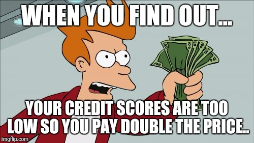 Shut Up And Take My Money Fry Meme | WHEN YOU FIND OUT... YOUR CREDIT SCORES ARE TOO LOW SO YOU PAY DOUBLE THE PRICE.. | image tagged in memes,shut up and take my money fry | made w/ Imgflip meme maker