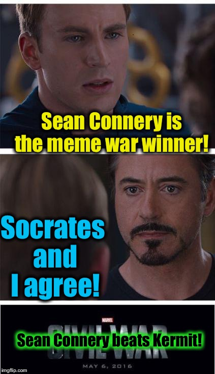 Sean Connery is the meme war winner! Socrates and I agree! Sean Connery beats Kermit! | made w/ Imgflip meme maker