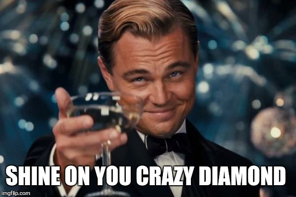 Leonardo Dicaprio Cheers Meme | SHINE ON YOU CRAZY DIAMOND | image tagged in memes,leonardo dicaprio cheers | made w/ Imgflip meme maker