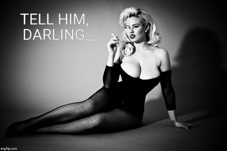 Gia Genevieve, femme fatale noir pinup,,, | TELL HIM,  DARLING,,, | image tagged in gia genevieve,femme fatale noir pinup | made w/ Imgflip meme maker