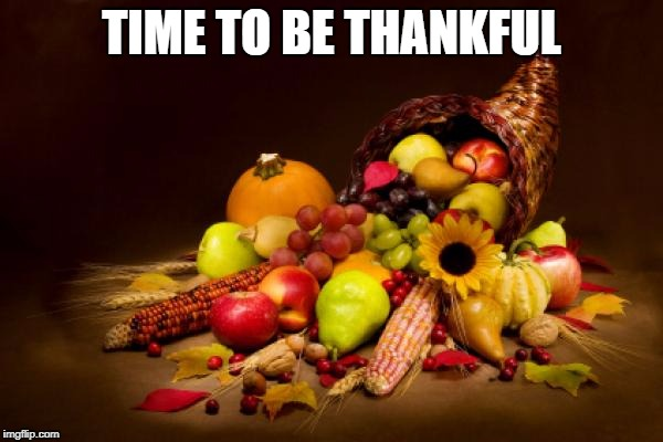 Thanksgiving | TIME TO BE THANKFUL | image tagged in thanksgiving | made w/ Imgflip meme maker