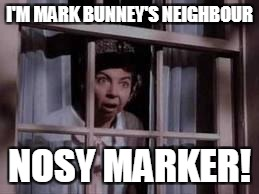 nosy old lady | I'M MARK BUNNEY'S NEIGHBOUR NOSY MARKER! | image tagged in nosy old lady | made w/ Imgflip meme maker