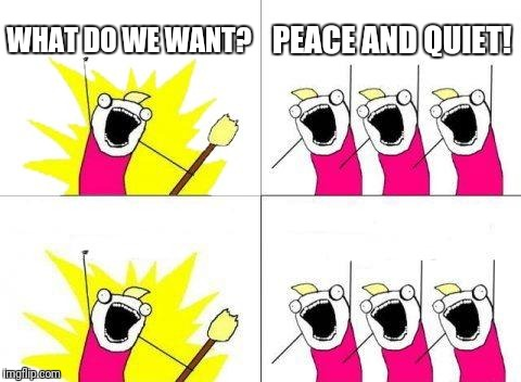 What Do We Want Meme | WHAT DO WE WANT? PEACE AND QUIET! | image tagged in memes,what do we want | made w/ Imgflip meme maker