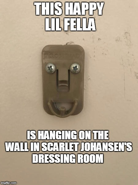THIS HAPPY LIL FELLA IS HANGING ON THE WALL IN SCARLET JOHANSEN'S DRESSING ROOM | image tagged in scar jo's wall | made w/ Imgflip meme maker