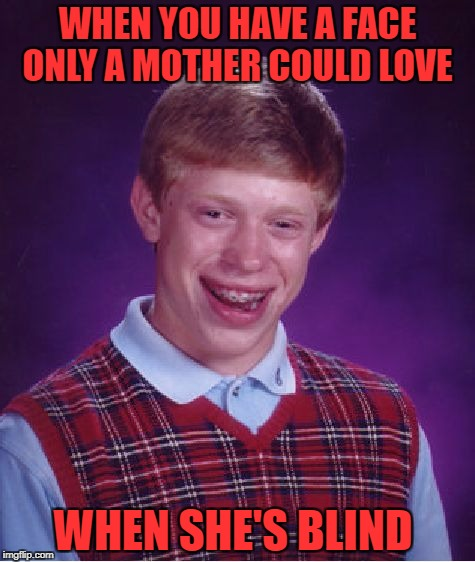 Bad Luck Brian Meme | WHEN YOU HAVE A FACE ONLY A MOTHER COULD LOVE WHEN SHE'S BLIND | image tagged in memes,bad luck brian | made w/ Imgflip meme maker