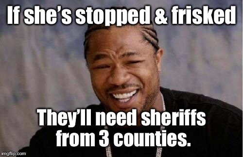 Yo Dawg Heard You Meme | If she's stopped & frisked They'll need sheriffs from 3 counties. | image tagged in memes,yo dawg heard you | made w/ Imgflip meme maker