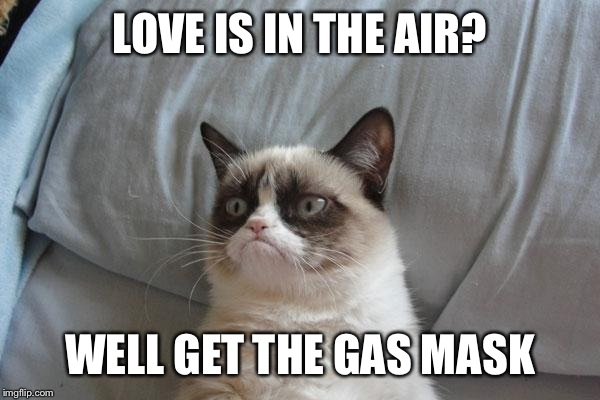 Grumpy Cat Bed Meme | LOVE IS IN THE AIR? WELL GET THE GAS MASK | image tagged in memes,grumpy cat bed,grumpy cat | made w/ Imgflip meme maker