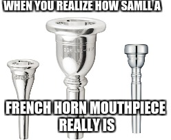 When You Talk To Others in Band Class | WHEN YOU REALIZE HOW SAMLL A FRENCH HORN MOUTHPIECE REALLY IS | image tagged in am i the only one around here | made w/ Imgflip meme maker