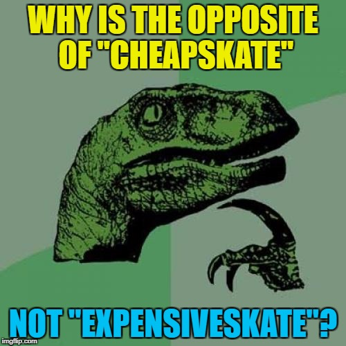"Why single out skates anyway? | WHY IS THE OPPOSITE OF ""CHEAPSKATE"" NOT ""EXPENSIVESKATE""? 