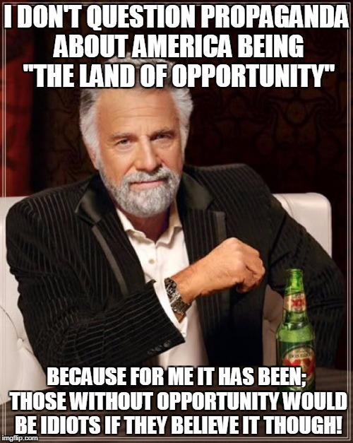 "The Most Interesting Man In The World Meme | I DON'T QUESTION PROPAGANDA ABOUT AMERICA BEING ""THE LAND OF OPPORTUNITY"" BECAUSE FOR ME IT HAS BEEN; THOSE WITHOUT OPPORTUNITY WOULD BE IDI 