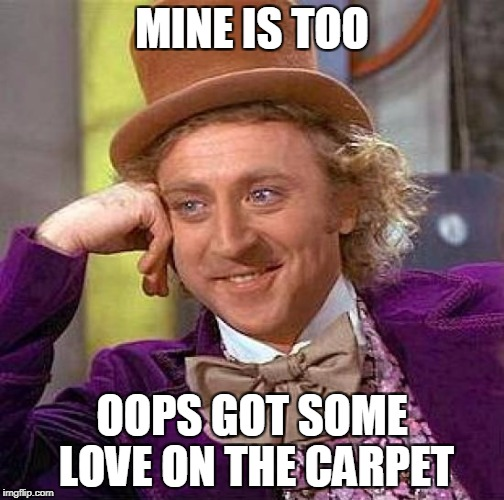 Creepy Condescending Wonka Meme | MINE IS TOO OOPS GOT SOME LOVE ON THE CARPET | image tagged in memes,creepy condescending wonka | made w/ Imgflip meme maker