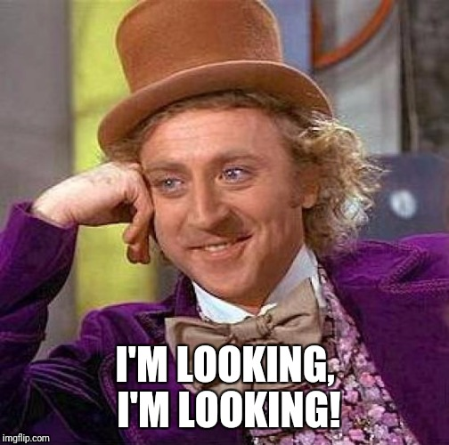Creepy Condescending Wonka Meme | I'M LOOKING, I'M LOOKING! | image tagged in memes,creepy condescending wonka | made w/ Imgflip meme maker