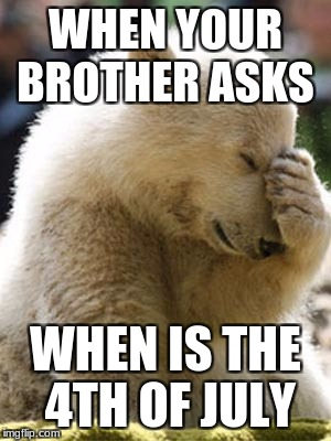 Facepalm Bear |  WHEN YOUR BROTHER ASKS; WHEN IS THE 4TH OF JULY | image tagged in memes,facepalm bear | made w/ Imgflip meme maker