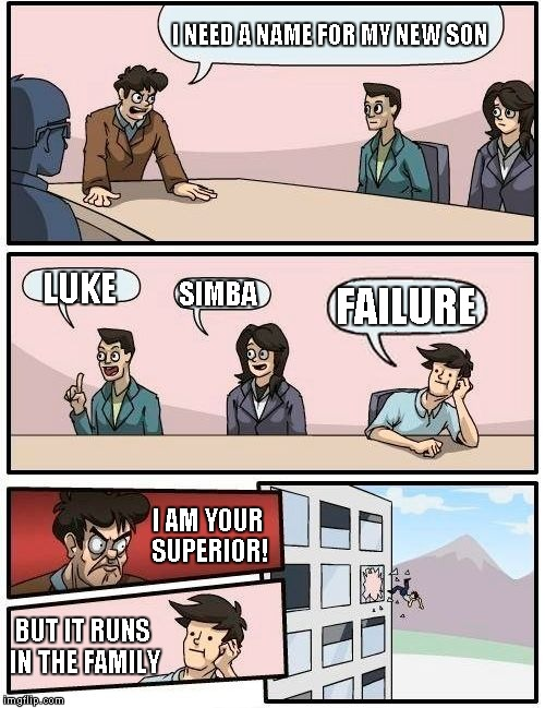 I'm a failure and am successful, I am..... The walking contridiction | I NEED A NAME FOR MY NEW SON LUKE SIMBA FAILURE BUT IT RUNS IN THE FAMILY I AM YOUR SUPERIOR! | image tagged in memes,boardroom meeting suggestion | made w/ Imgflip meme maker