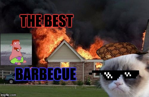 Burn Kitty Meme | THE BEST BARBECUE | image tagged in memes,burn kitty,grumpy cat,scumbag | made w/ Imgflip meme maker