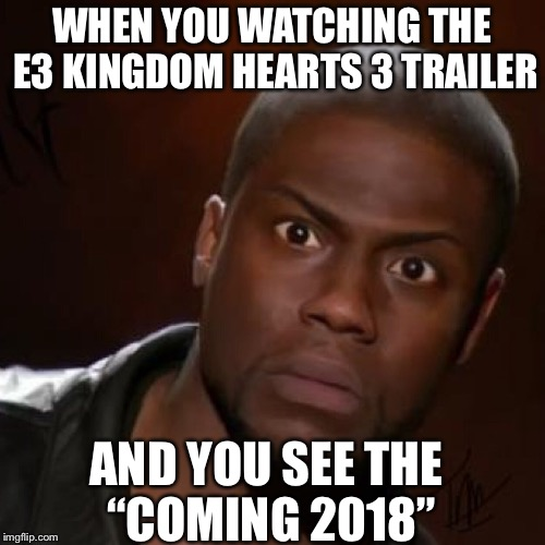 "WHEN YOU WATCHING THE E3 KINGDOM HEARTS 3 TRAILER AND YOU SEE THE ""COMING 2018"" 