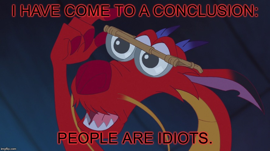I HAVE COME TO A CONCLUSION: PEOPLE ARE IDIOTS. | made w/ Imgflip meme maker