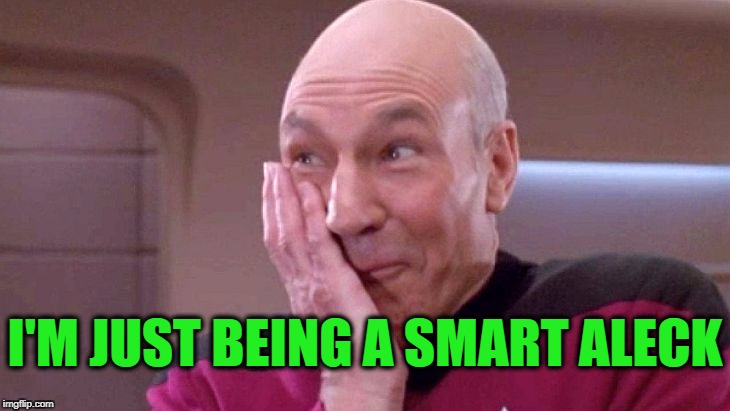 picard grin | I'M JUST BEING A SMART ALECK | image tagged in picard grin | made w/ Imgflip meme maker