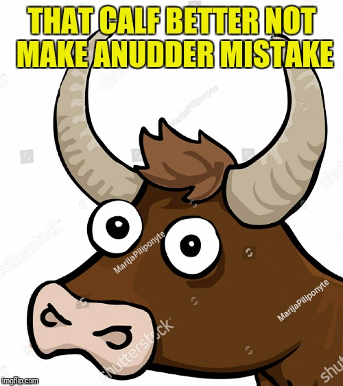 THAT CALF BETTER NOT MAKE ANUDDER MISTAKE | made w/ Imgflip meme maker