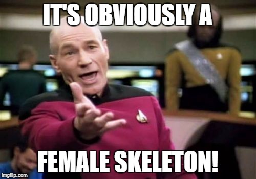 Picard Wtf Meme | IT'S OBVIOUSLY A FEMALE SKELETON! | image tagged in memes,picard wtf | made w/ Imgflip meme maker