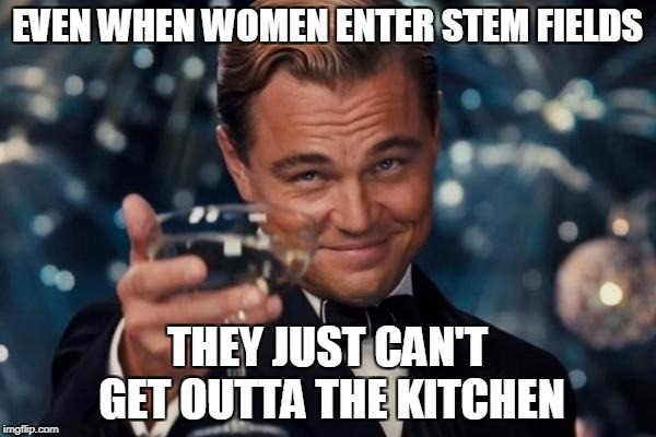 Leonardo Dicaprio Cheers Meme | EVEN WHEN WOMEN ENTER STEM FIELDS THEY JUST CAN'T GET OUTTA THE KITCHEN | image tagged in memes,leonardo dicaprio cheers | made w/ Imgflip meme maker