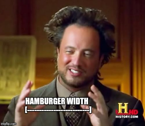 Ancient Aliens Meme | HAMBURGER WIDTH  [--------------------------] | image tagged in memes,ancient aliens | made w/ Imgflip meme maker