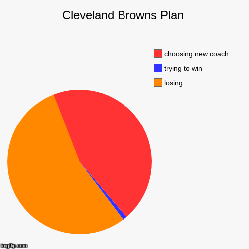 Cleveland Browns Plan | losing, trying to win, choosing new coach | image tagged in funny,pie charts | made w/ Imgflip pie chart maker