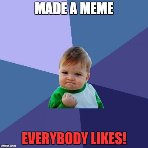Success Kid Meme | MADE A MEME EVERYBODY LIKES! | image tagged in memes,success kid | made w/ Imgflip meme maker