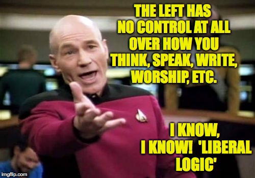 Picard Wtf Meme | THE LEFT HAS NO CONTROL AT ALL OVER HOW YOU THINK, SPEAK, WRITE, WORSHIP, ETC. I KNOW, I KNOW!  'LIBERAL LOGIC' | image tagged in memes,picard wtf | made w/ Imgflip meme maker