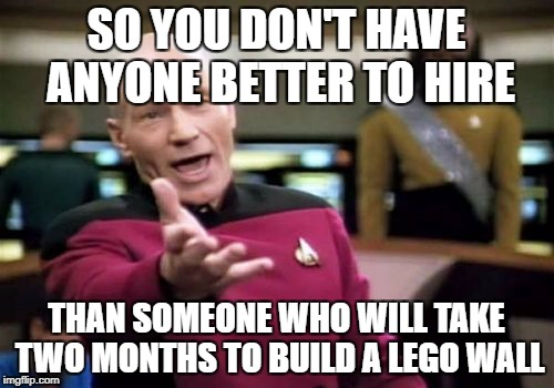 Picard Wtf Meme | SO YOU DON'T HAVE ANYONE BETTER TO HIRE THAN SOMEONE WHO WILL TAKE TWO MONTHS TO BUILD A LEGO WALL | image tagged in memes,picard wtf | made w/ Imgflip meme maker
