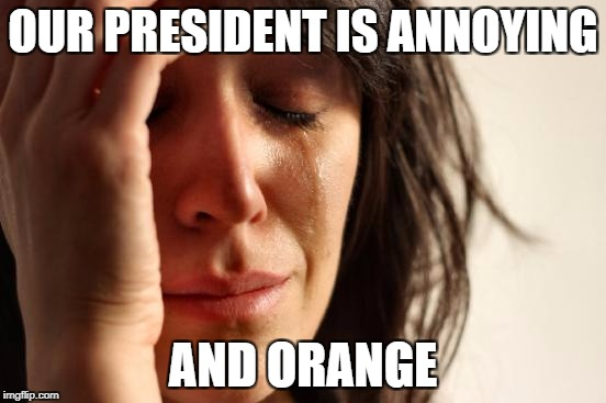 First World Problems Meme | OUR PRESIDENT IS ANNOYING AND ORANGE | image tagged in memes,first world problems | made w/ Imgflip meme maker