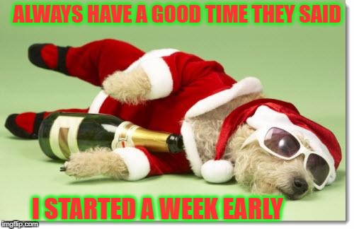 christmas drunk dog | ALWAYS HAVE A GOOD TIME THEY SAID I STARTED A WEEK EARLY | image tagged in christmas drunk dog | made w/ Imgflip meme maker