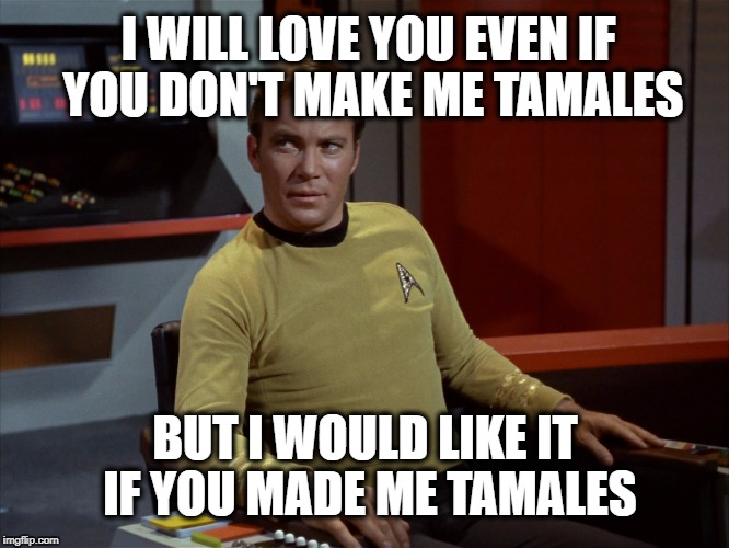 I WILL LOVE YOU EVEN IF YOU DON'T MAKE ME TAMALES BUT I WOULD LIKE IT IF YOU MADE ME TAMALES | image tagged in star trek,tamales,mexican food | made w/ Imgflip meme maker