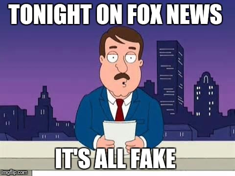 Family Guy Tom | TONIGHT ON FOX NEWS IT'S ALL FAKE | image tagged in family guy tom | made w/ Imgflip meme maker