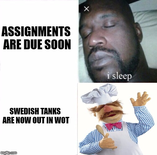 Sleeping Shaq Meme | ASSIGNMENTS ARE DUE SOON SWEDISH TANKS ARE NOW OUT IN WOT | image tagged in i sleep,real shit | made w/ Imgflip meme maker