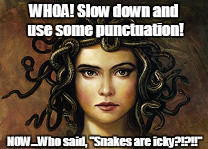 "WHOA! Slow down and use some punctuation! NOW...Who said, ""Snakes are icky?!?!!"" 