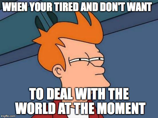 Futurama Fry Meme | WHEN YOUR TIRED AND DON'T WANT TO DEAL WITH THE WORLD AT THE MOMENT | image tagged in memes,futurama fry | made w/ Imgflip meme maker
