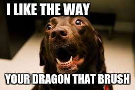 Bad pun dog  | I LIKE THE WAY YOUR DRAGON THAT BRUSH | image tagged in labs,bad pun dog,memes | made w/ Imgflip meme maker