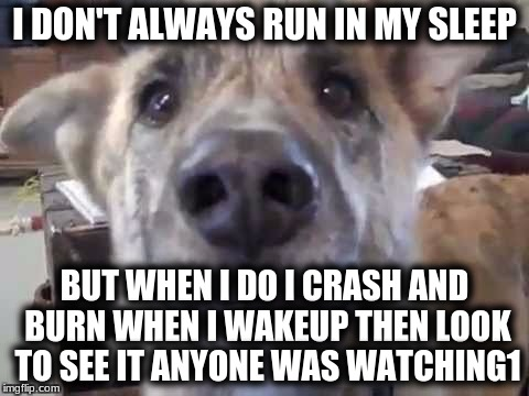 I DON'T ALWAYS RUN IN MY SLEEP BUT WHEN I DO I CRASH AND BURN WHEN I WAKEUP THEN LOOK TO SEE IT ANYONE WAS WATCHING1 | made w/ Imgflip meme maker