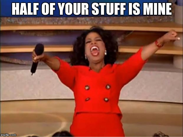 Oprah You Get A Meme | HALF OF YOUR STUFF IS MINE | image tagged in memes,oprah you get a | made w/ Imgflip meme maker
