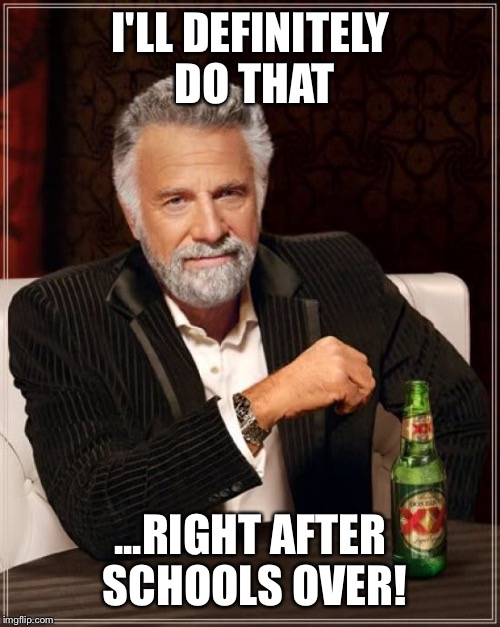 The Most Interesting Man In The World Meme | I'LL DEFINITELY DO THAT ...RIGHT AFTER SCHOOLS OVER! | image tagged in memes,the most interesting man in the world | made w/ Imgflip meme maker