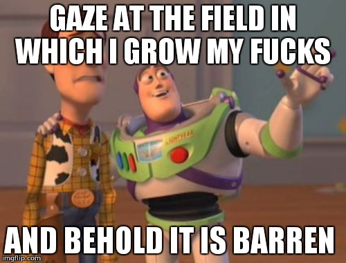X, X Everywhere Meme | GAZE AT THE FIELD IN WHICH I GROW MY F**KS AND BEHOLD IT IS BARREN | image tagged in memes,x,x everywhere,x x everywhere | made w/ Imgflip meme maker