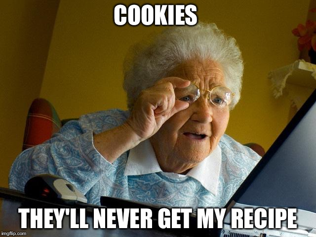 Grandma Finds The Internet Meme | COOKIES THEY'LL NEVER GET MY RECIPE | image tagged in memes,grandma finds the internet | made w/ Imgflip meme maker