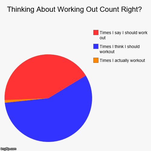 Thinking About Working Out Count Right? | Times I actually workout, Times I think I should workout, Times I say I should work out | image tagged in funny,pie charts | made w/ Imgflip pie chart maker