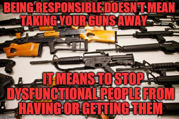 Gun Control | BEING RESPONSIBLE DOESN'T MEAN TAKING YOUR GUNS AWAY IT MEANS TO STOP DYSFUNCTIONAL PEOPLE FROM HAVING OR GETTING THEM | image tagged in gun control | made w/ Imgflip meme maker