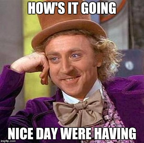 Creepy Condescending Wonka Meme | HOW'S IT GOING NICE DAY WERE HAVING | image tagged in memes,creepy condescending wonka | made w/ Imgflip meme maker