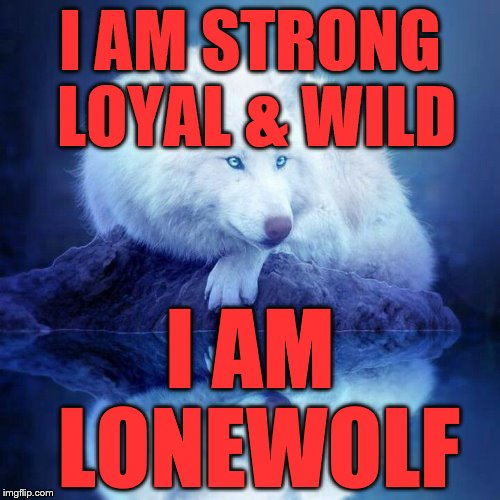 I AM STRONG LOYAL & WILD I AM LONEWOLF | image tagged in wolf meme | made w/ Imgflip meme maker