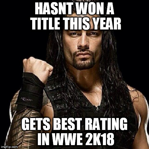 Roman Reigns | HASNT WON A TITLE THIS YEAR GETS BEST RATING IN WWE 2K18 | image tagged in roman reigns | made w/ Imgflip meme maker