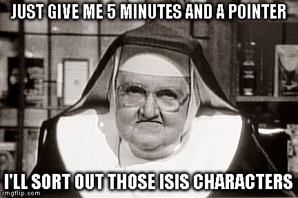 Frowning Nun | JUST GIVE ME 5 MINUTES AND A POINTER I'LL SORT OUT THOSE ISIS CHARACTERS | image tagged in memes,frowning nun | made w/ Imgflip meme maker