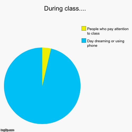 During class.... | Day dreaming or using phone, People who pay attention to class | image tagged in funny,pie charts | made w/ Imgflip pie chart maker